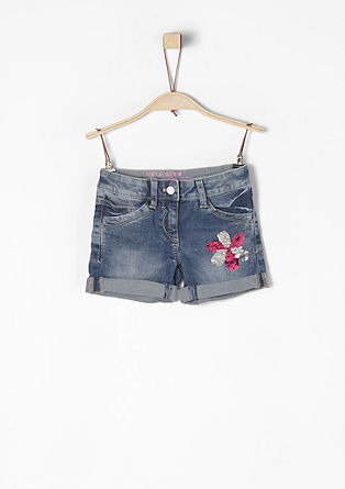 Washed denim shorts with reversible sequins from s.Oliver