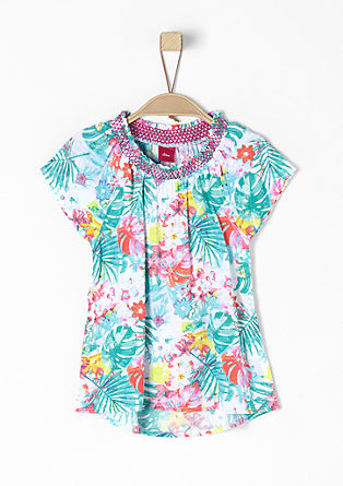 Bluse mit tropischem Allover-Print