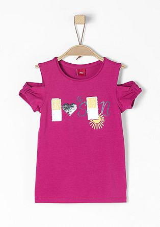 Cut-Out-Shirt mit Pailletten