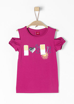 Shirt met cut-outs en pailletjes