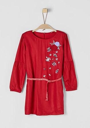 Kleid mit Blumen-Applikationen