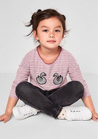 Proužkované tričko s labutěmi