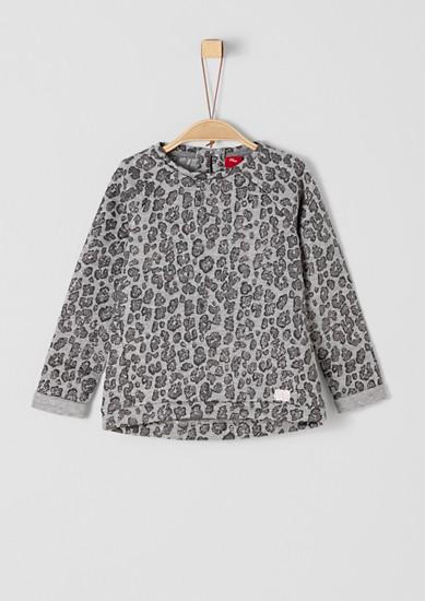 Sweatshirt mit Glitzer-Leo-Print