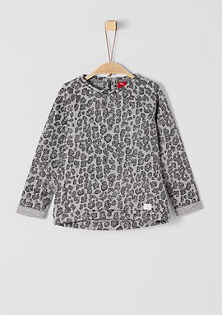 Sweatshirt pulover s svetlečim leopardjim potiskom