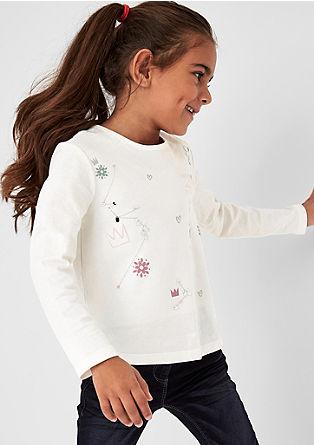 Langarmshirt mit Print und Pailletten
