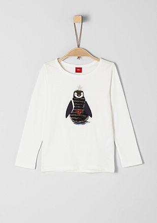 Longsleeve mit Wendepailletten-Pinguin