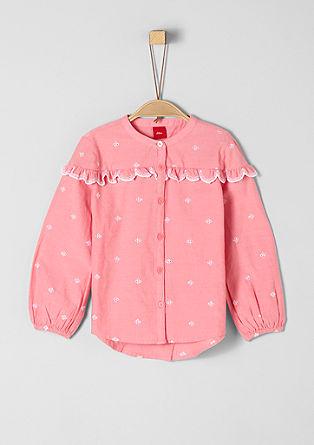 Bluza iz chambraya z luknjičastim vzorcem