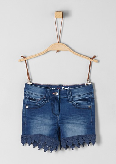 Denim shorts with lace from s.Oliver