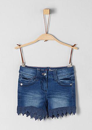 Denim-Shorts mit Spitze