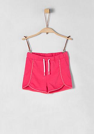 Jersey-Shorts mit Pompon-Borte