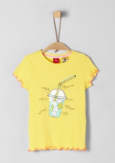 Printshirt mit gerüschten Säumen