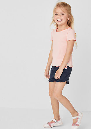 Jersey short met ruches