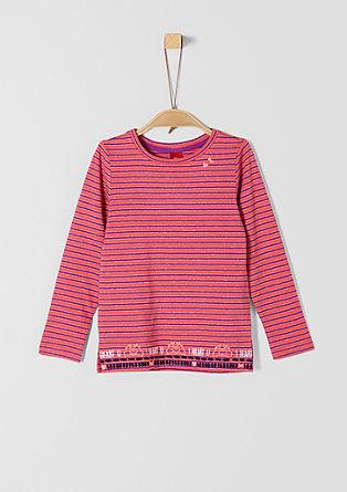Besticktes Glitzerstreifen-Shirt