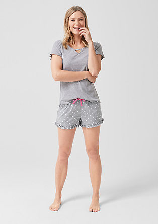 Homewear-Shorts mit Rüschen