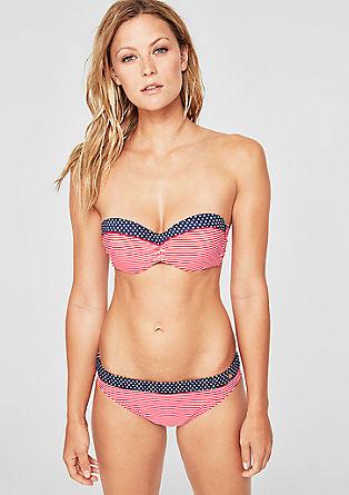 Bikinitop in bandeaumodel, met motiefmix