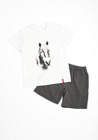 Korte pyjama met paardenmotief
