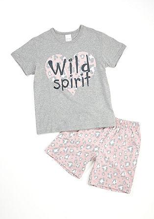Kurzer Jersey-Pyjama im Leo-Look