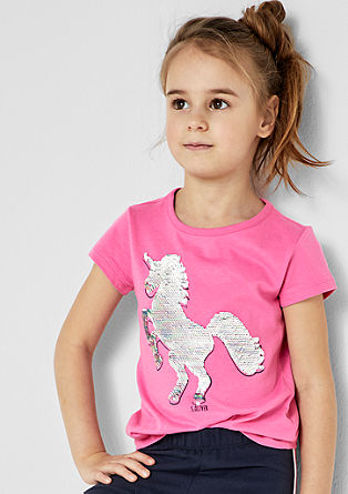 Shirt mit Wendepailletten-Einhorn