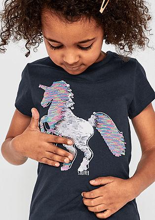 T-shirt animé d'une licorne en paillettes réversibles de s.Oliver