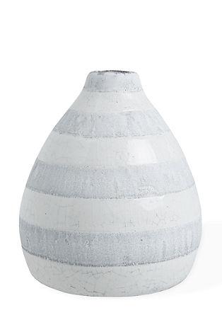 Steingut-Vase mit Ringeln