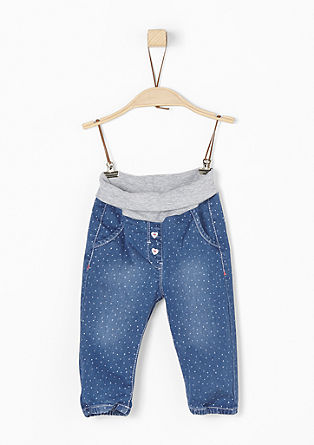 Polka dot jeans with a jersey waistband from s.Oliver