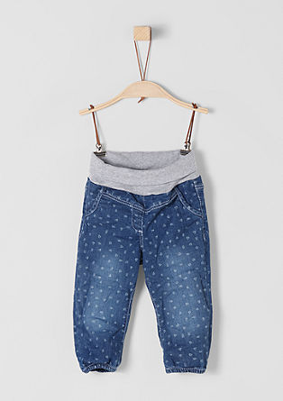 Patterned jeans with a turn-down waistband from s.Oliver