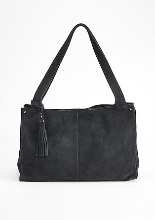 Blauer Veloursleder-Shopper
