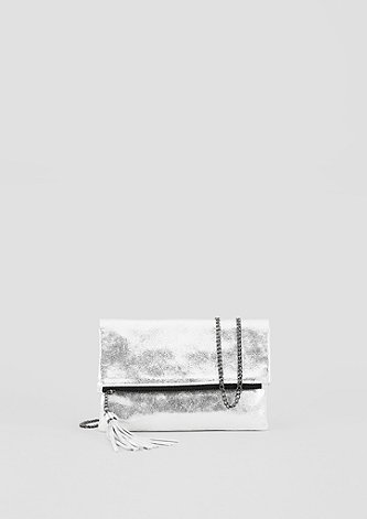 Leder-Clutch im Metallic-Look