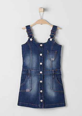Stretchy pinafore with decorative buttons from s.Oliver
