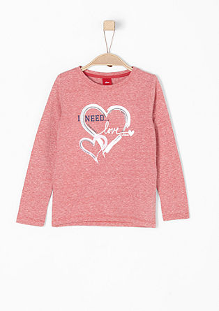 Long sleeve top with shiny hearts from s.Oliver