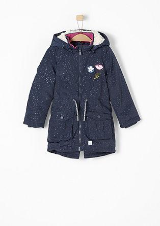 Zimní kabát s nášivkami s pajetkami