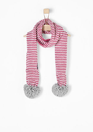 Knitted scarf with pompoms from s.Oliver