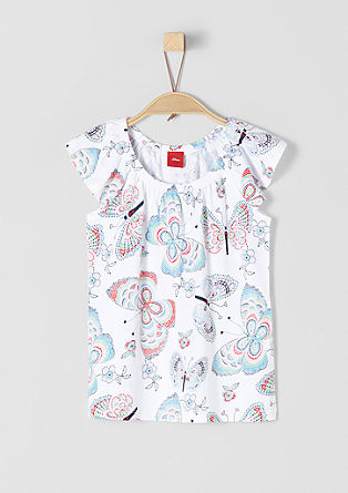 Off Shoulder-Shirt mit Schmetterlingen