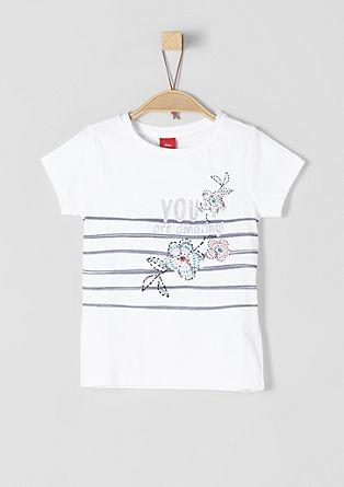 T-Shirt mit Glitzer-Print und Pailletten