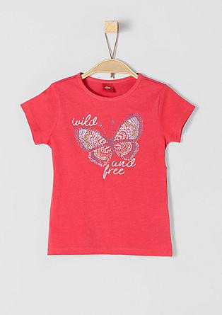 T-Shirt Glitzer-Schrift und Butterfly
