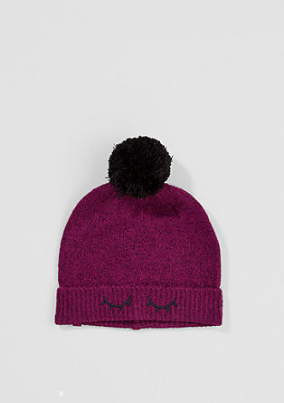 Knit hat with pompoms from s.Oliver