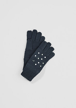 Knitted gloves with studs from s.Oliver