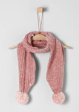 Chenille-Schal mit Pompons