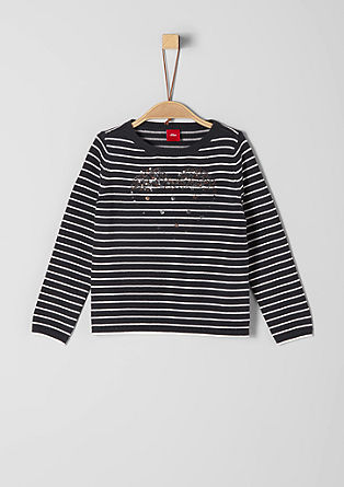 Striped knit jumper with sequins from s.Oliver