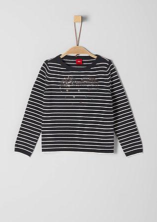 Proužkovaný pletený pulovr sflitry