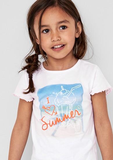 Shirt met print en gestreepte zoom