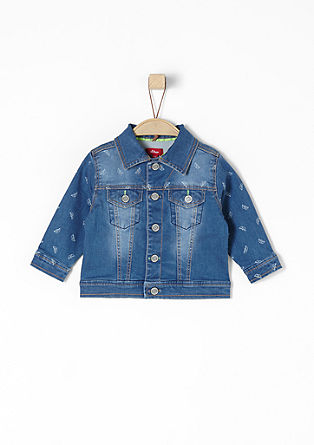 Denim jack met multiprint