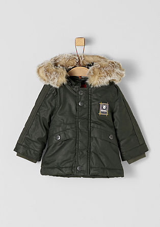 Coated parka with faux fur from s.Oliver