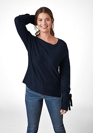 Tanek pulover z detajlom pentlje
