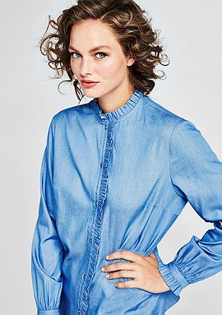 Bluza kombinacije liocela in jeansa z naborki