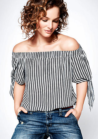 Off-the-shoulder blouse with stripes from s.Oliver