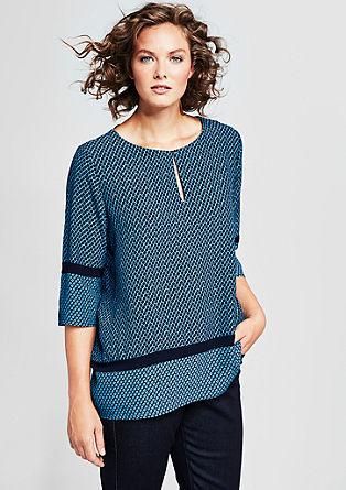 Crêpe-Blusenshirt mit Musterprint
