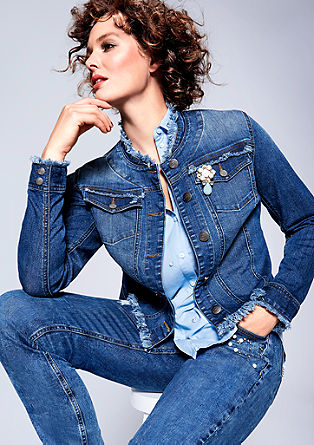 Denim jacket with fringed edges from s.Oliver