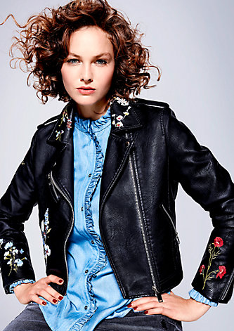 Fake Leather-Jacke mit Embroidery