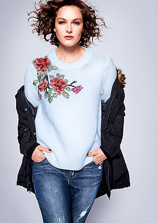 Pullover mit Blumenapplikation